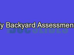 My Backyard Assessments