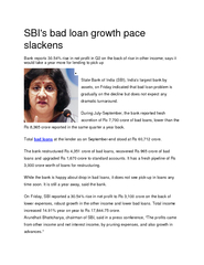 SBI's bad loan growth pace
