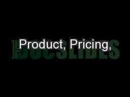 Product, Pricing,