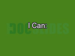 I Can:
