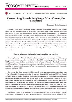 Causes of Sluggishness in Hong Kong's Private Consumption Expendi