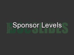 Sponsor Levels PowerPoint PPT Presentation