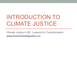 Introduction to Climate Justice