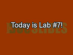 Today is Lab #7!