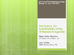 Hot Topics  for Sustainability in the IE Research Agenda