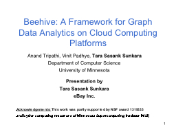 1 Beehive: A Framework for Graph Data Analytics on Cloud Co