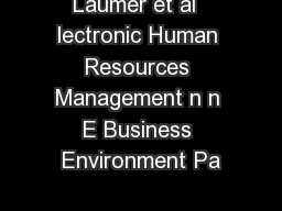 Laumer et al  lectronic Human Resources Management n n E Business Environment Pa PDF document - DocSlides