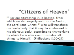 """Citizens of Heaven"""
