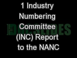 1 Industry Numbering Committee (INC) Report to the NANC