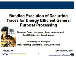 1 Bundled Execution of Recurring Traces for Energy-Efficien