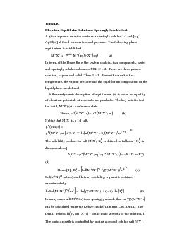 Chemical Equilibria: Solutions: Sparingly Soluble SaltA given aqueous PDF document - DocSlides