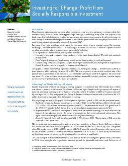 main investment theses for socially responsible investing (SRI).  ...