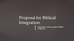 Preparing to write your paper on Biblical Integration