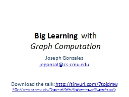 Big Learning PowerPoint PPT Presentation