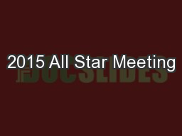 2015 All Star Meeting
