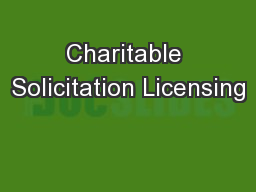 Charitable Solicitation Licensing