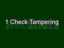 1 Check Tampering PowerPoint PPT Presentation
