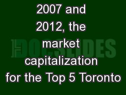 Between 2007 and 2012, the market capitalization for the Top 5 Toronto