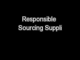 Responsible Sourcing Suppli PowerPoint PPT Presentation