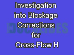 An Investigation into Blockage Corrections for Cross-Flow H