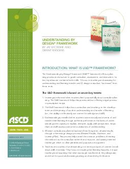 UNDERSTANDING BY DESIGN FRAMEWORK BY JAY MCTIGHE AND GRANT WIGGINS WWW