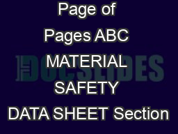 Page of Pages ABC MATERIAL SAFETY DATA SHEET Section