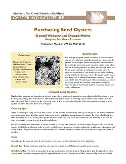 Purchasing Seed OystersDonald Webster and Donald MerittMaryland Sea Gr