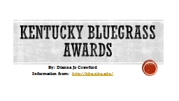 Kentucky bluegrass awards