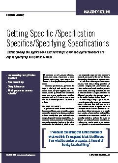Getting Specic /Specication