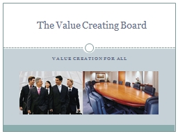 Value creation for all