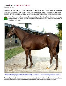 September 20, 2011 HARLAN'S HOLIDAY YEARLITEAM VALOR STABLE POWER