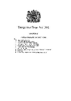 Dangerous Dogs Act  CHAPTER  ARRANGEMENT OF SECTIONS Section I