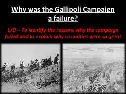 Why was the Gallipoli Campaign a failure? PowerPoint PPT Presentation