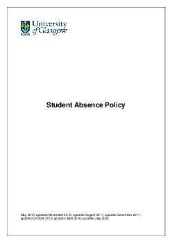 Student Absence Policy May   updated November   updated August   updated Decembe