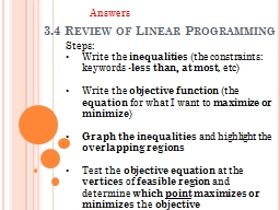 3.4 Review of Linear Programming