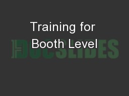 Training for Booth Level