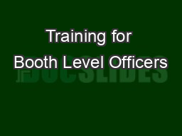 Training for Booth Level Officers