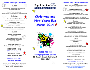 Christmas Party Lunch & Dinner Menu