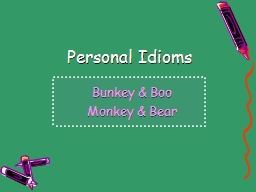 Personal Idioms PowerPoint PPT Presentation