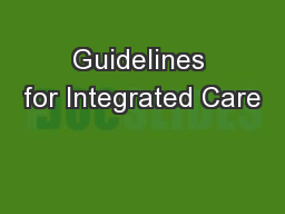 Guidelines for Integrated Care