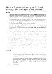 General Conditions of Supply or Food and Beverage and related goods an