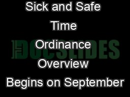 Seattle Paid Sick and Safe Time Ordinance Overview Begins on September
