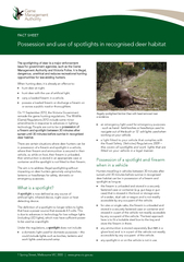 Possession and use of spotlights in recognised deer habitat