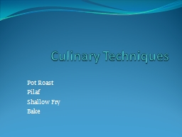 Culinary Techniques