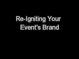 Re-Igniting Your Event's Brand