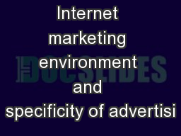 Internet marketing environment and specificity of advertisi