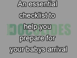 An essential checklist to help you prepare for your babys arrival