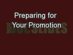 Preparing for Your Promotion