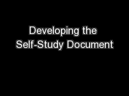 Developing the Self-Study Document