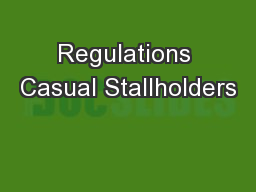 Regulations Casual Stallholders